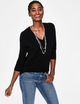 Black Cashmere Relaxed VNeck Sweater