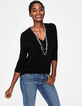 Black Cashmere Relaxed V-neck Jumper