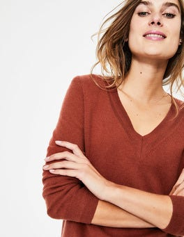 Conker Cashmere Relaxed VNeck Sweater
