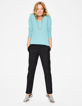 Heron Blue Cashmere Relaxed VNeck Sweater