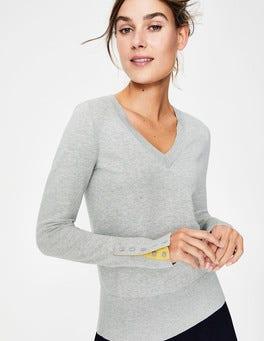 Silver Melange Tilda V Neck Sweater