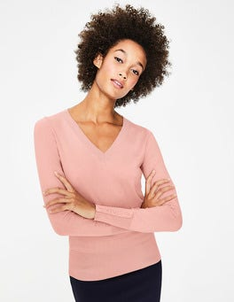 Chalky Pink Tilda V Neck Sweater