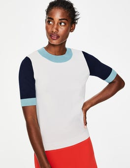 Ivory Colourblock Colour Detail Knitted Tee