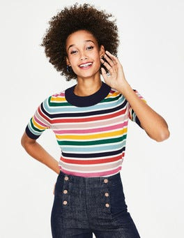 Multi Stripe Colour Detail Knitted Tee