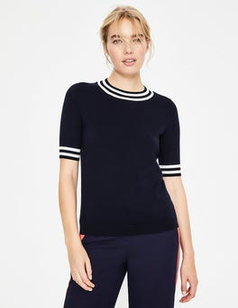 Navy Colour Detail Knitted Tee