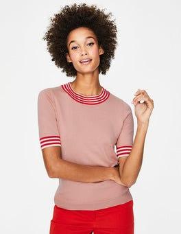 Kreiderosa Strickshirt mit Farbdetail