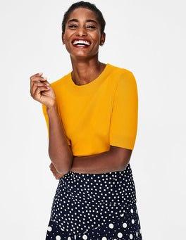 Fröhliches Gelb Strickshirt mit Farbdetails