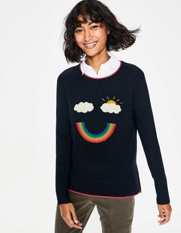 Navy Rainbow Penny Sweater