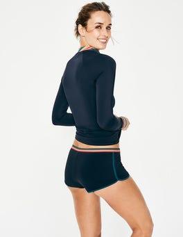 Navy/Rainbow Stripe Piping Swim Shorts