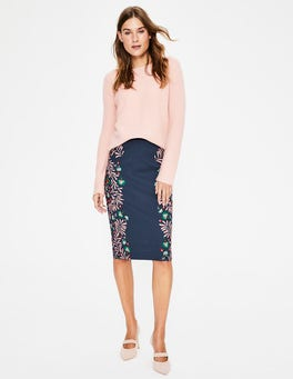 Navy, Tropical Placement Richmond Pencil Skirt