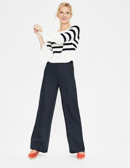 Navy Penzance Linen Trousers