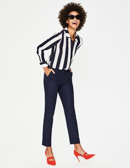 Navy Kensington Turn-up Trousers