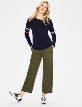 Classic Khaki Helena Cropped Chino Trousers
