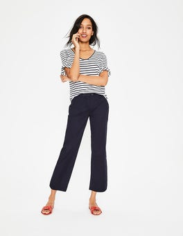 Navy Helena Cropped Chino Trousers