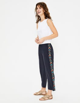 Navy Tamara Embroidered Trousers