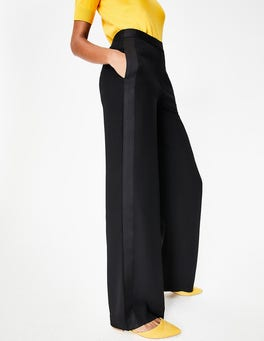 Black Exeter Wide Leg Trousers