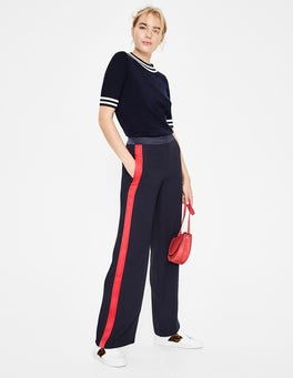 Navy Exeter Wide Leg Trousers