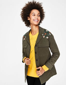 Classic Khaki Ruby Embroidered Jacket