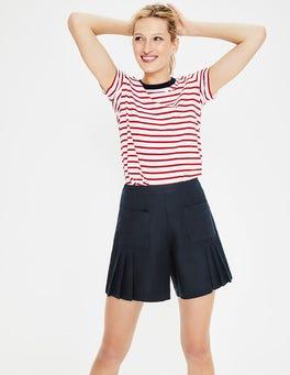 Navy Zoe Linen Shorts