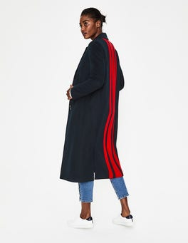 Navy w Red Stripe Ashridge Colourblock Coat