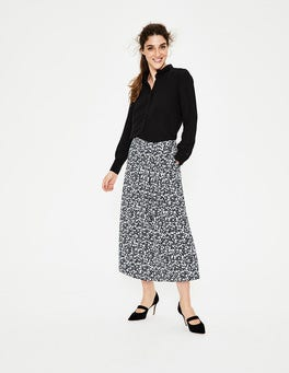 Navy & Heron Blue Animal Saskia Midi Skirt