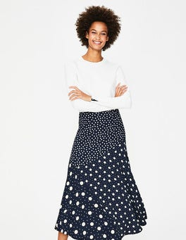 Navy and Ivory, Mixed Spot Alina Midi Skirt