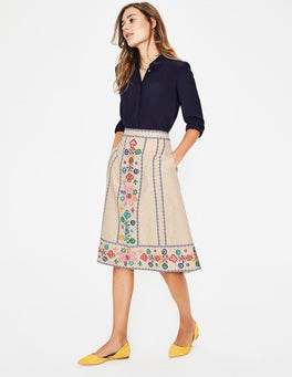 Floral Embroidery Brooke Embroidered Skirt