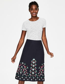 Navy Floral Brooke Embroidered Skirt