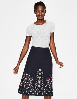 Navy Floral Brooke Embroidered Skirt