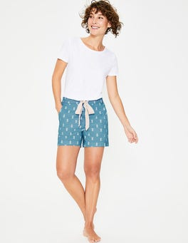 Heron Blue, Ivory Pineapple Suzie PJ Shorts