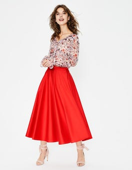 Red Pop Delilah Midi Skirt