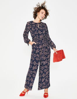 Navy, Floral Bloom Spot Hermione Silk Jumpsuit