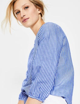 Cabin Blue & Ivory Stripe Natalia Top