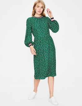 Forest Green Arc Roberta Rib Detail Dress