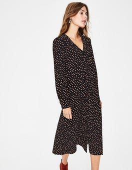 Black Random Spot Elsie Midi Dress