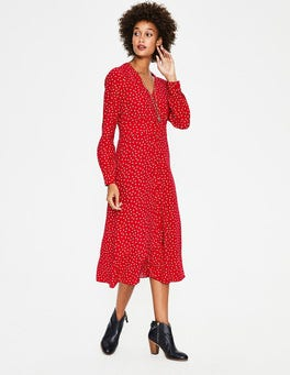 Poinsettia Random Spot Elsie Midi Dress