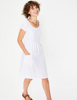 Weiß Alberta Leinenkleid