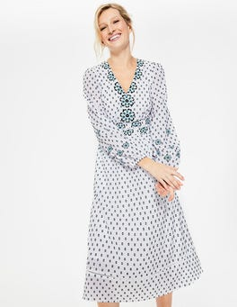 White with French Navy Spot Flossie Embroidered Midi Dress