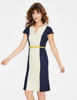 Navy & Naturweiß Freida Strukturiertes Kleid