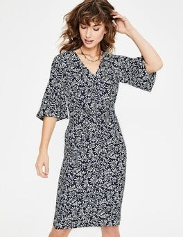Navy Olive Branch Ines Dress