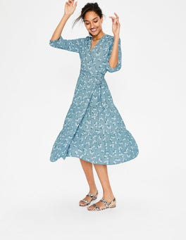 Heron Blue Daisy Field Aurora Midi Wrap Dress