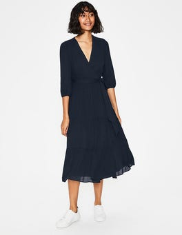 Navy Aurora Midi Wrap Dress