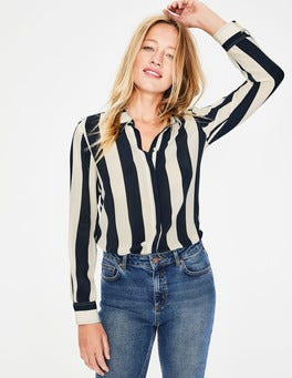 Navy & Ivory Stripe The Silk Shirt