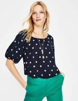 Navy Dot Amber Top