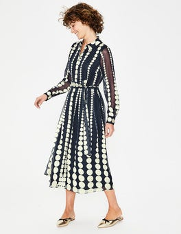 Navy Gradiated Spot Genevieve Midi Shirt Dress
