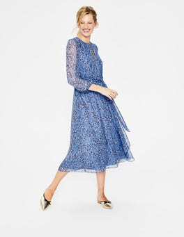 Hazy Blue Floral Bloom Kyra Silk Midi Dress