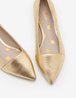 Gold Metallic Josie Low Heels