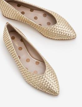 Gold-Metallic Hazel Flache Schuhe