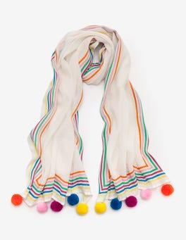 White and Rainbow Pompom Scarf