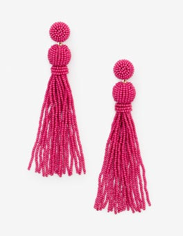 Garden Rose Beaded Tassel Earrings